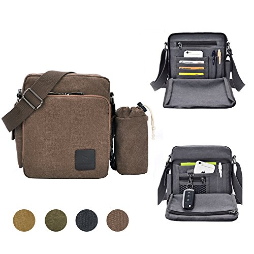 GuiShi Canvas Small Messenger Bag Casual Shoulder Bag Travel Organizer Bag Multi-pocket Purse Handbag Crossbody Bags (Coffee)