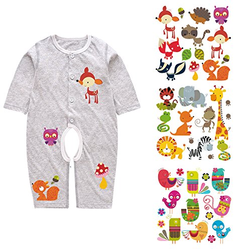 Baby Iron on Patches Set - 4 Pcs Heat Transfer Vinyl Patch for Kids, Funny DIY Decoration Appliques Stickers with Cartoon Bird Animal Design and Eco-Friendly ()