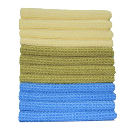Polyte Microfiber Kitchen Towel Waffle Weave, 12 Pack