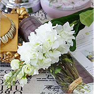 Roossys Hyacinth Artificial Flowers Hyacinth Violet Flower Fake Silk Artificial Flowers Marriage Birthday Party Bridal Floral Home Decoration Ornamental Flower Decoration (White) 47