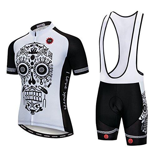 Men's Cycling Jersey Set Men Bike Jerseys and bib Shorts with Gel Paded S-5XL, Breathable Quick-Dry (2# White Bike Skull Bib Set M)