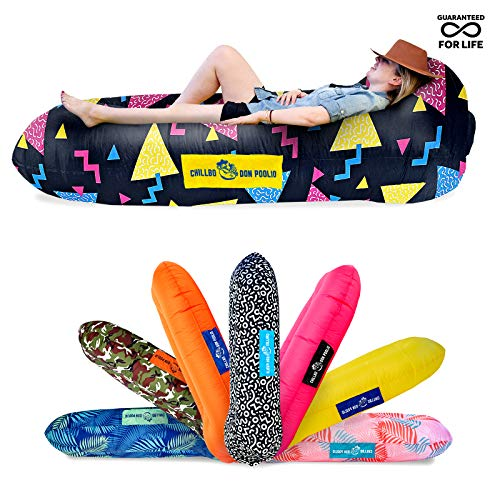 Chillbo Don POOLIO Pool Floats for Adults - Cool Patterns, Inflatable Sofa & Kids Hammock - Best Camping Gear for River Floats Hammock Chair & Raft for Beach (Nineties Fresh Prints Black)