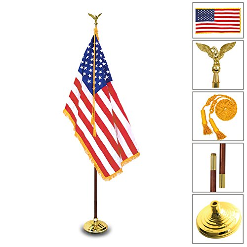 Anley 8 Ft [Presidential Deluxe] Indoor USA Flag Pole Set - 8' Oak Pole, Gold Fringed US Flag, Stand, Cord Tassel and Eagle Top Ornament for Offices, Schools, Churches & ()
