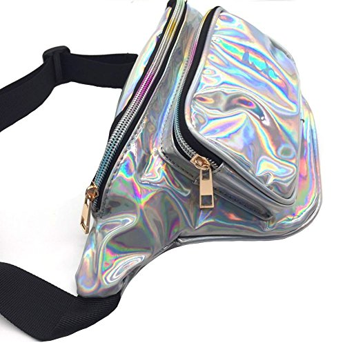 MSFS Women Hologram Bum Waist Bag Laser Funny Pack Waterproof Shiny Neon Pack for Travel Festival Beach (Silver) by MSFS (Image #1)