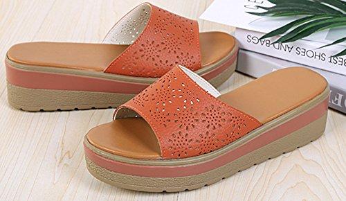 Stable Vacances Aisun Perforé Orange on Plateforme Slip Femme Mules 4rqxExYw5