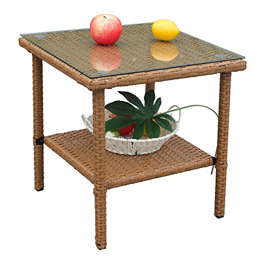 LEAPTIME Outdoor Side Table Indoor Square End Table Patio Rattan Picnic Table in Earth Yellow Side Coffee Table with Tempered Glass Top ()
