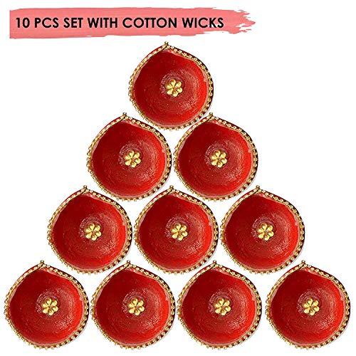 Craftsman Handmade Traditional Terracotta Clay Diya. Red with Jarkan Work-10 pc Set. Diwali Deepawali Earthen Oil Lamp with Cotton Wicks. Indian Gift Items Dia