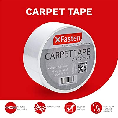 XFasten Double Sided Carpet Tape for Area Rugs and Carpets, Removable and Hardwood Safe, 2 Inches x 10 Yards, Ideal for Area Rugs, Carpet Over Rugs or Delicate Hardwood Floors