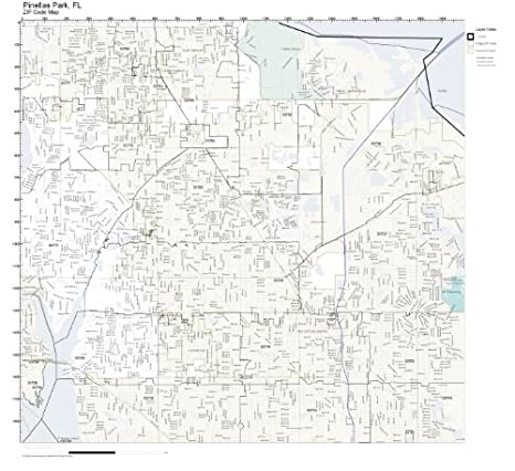Amazon.com: ZIP Code Wall Map of Pinellas Park, FL ZIP Code Map ...