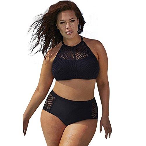 Damen Retro Mesh Geflochtene Fringe Neckholder Plus Größe Badebekleidung High Waist Neckholder Bügel Badebekleidung Bikini Badeanzug Bikini Set Große Größen