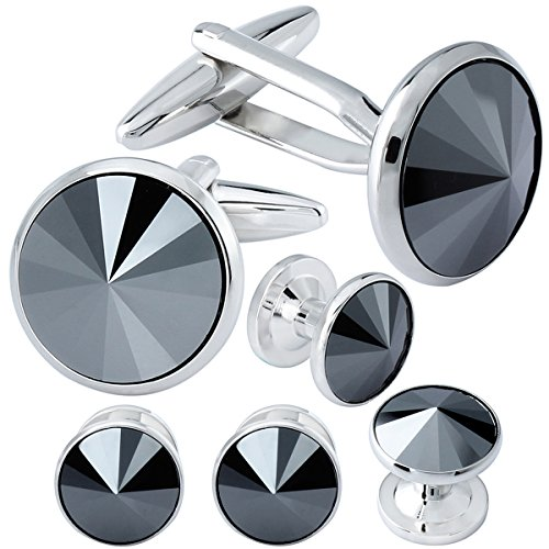HAWSON Cufflink and Studs Tuxedo Set Silver Color with Swarovski Crystals in Jet Hematite