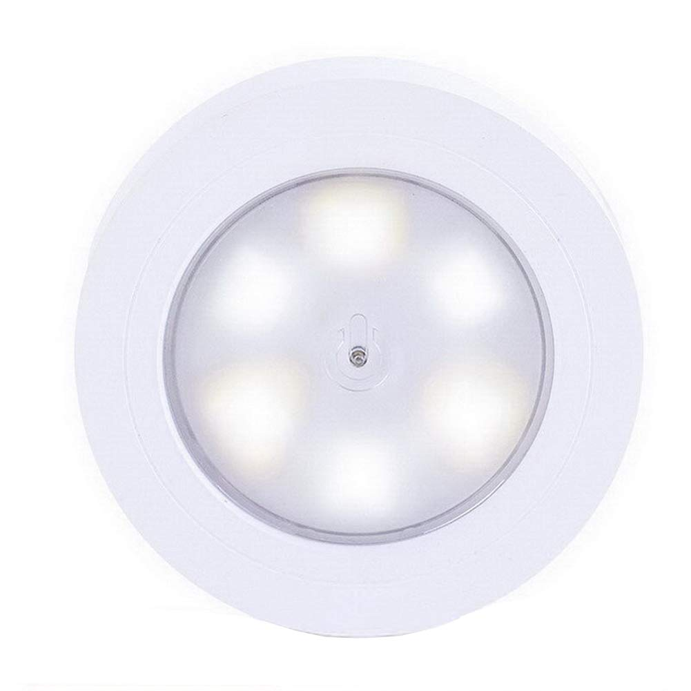 Alotm Closet Light, LED Puck Stick-on Tap Night Light, Battery Operated, Push Light Wireless Touch Lamp for Closets, Cabinets, Attic, Garage and More (White)