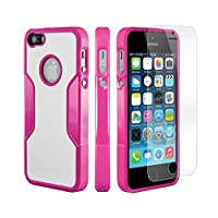 iPhone 5s Case, iPhone 5 Case, Pink Rose - SaharaCase® Protection Kit Bundle: [Case + ZeroDamage® Tempered Glass Screen Protector] Rugged Protective Slim Shock-Absorbing Bumper & Hard Plastic Frame