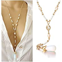 CrazyPiercing Y-Shape Necklace, Long Pearl Teardrop Pendant Necklace Chain for Women Girls, 24Inch