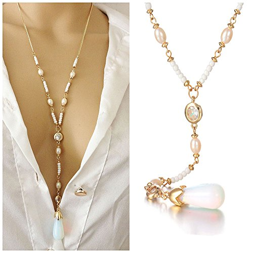 CrazyPiercing Y-shape Necklace, Long Pearl Teardrop Pendant Necklace Chain for Women Girls, 24Inch (Pearl Long Chain Necklace)