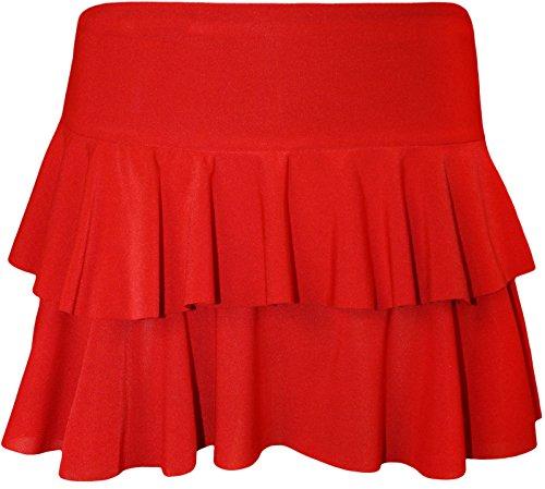 Rosso De Mini Falda Las Rara nbsp;capa Mujeres Volante Plisado 2 Corta Neón qx74PUwY