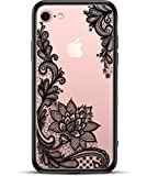 Prosidio Apple iPhone 8 iPhone 7 Case for Girls Women - Matte Clear Phone Case - Cute Black Floral Design - Shockproof Protective Slim - Ultra Thin Hard Back Cover - Rubber Bumper Cool Flowers Henna