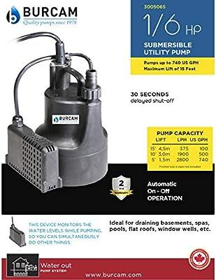 BURCAM 300506S 1/6 HP Automatic Utility Pump, Black