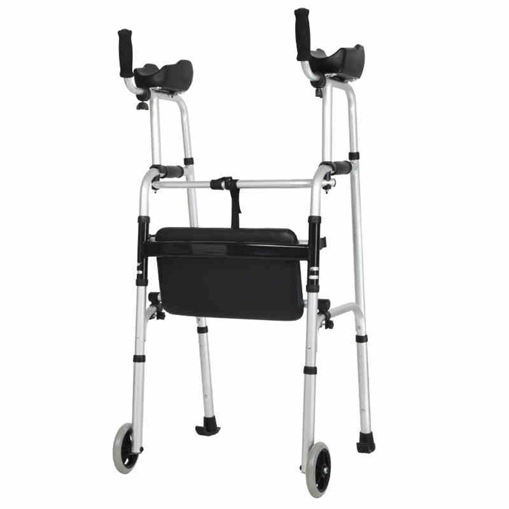 Wheel Walking Frame with Armrest Support Pad Thick Aluminum Alloy Rehabilitation Auxiliary Walking Frame Elderly Walking Aid Height Adjustable XUE