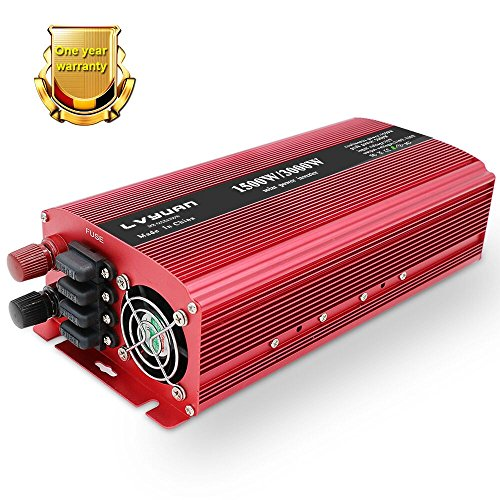 Power Tool 12v - IpowerBingo 2018 New 1500W/3000W Power Inverter Dual AC Outlets USB Charging Ports DC to AC 12V to 110V Inverter Converter with Digital Display 4 External 40A Fuses for Blenders, vacuums, Power Tools
