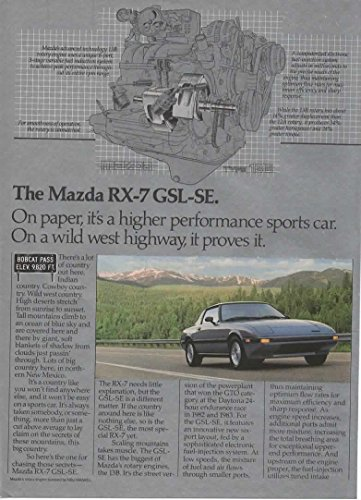 """Magazine Print Ad: 1985 Mazda RX-7 GSL-SE at Bobcat Pass NM,""""On paper, it's a higher performance sports car. On a wild west highway proves it"""""""