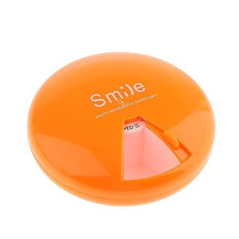Gazechimp Caja Ronda de Almacenamiento de Píldora Soporte de Vitaminas de 7 Días - Naranja
