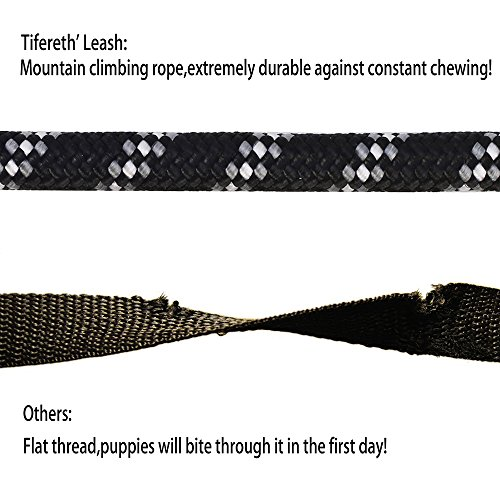 tifereth-dog-leashes-for-medium-and-large-dogs-mountain-climbing-rope-dog-leash-6-ft-long-supports-the-strongest-pulling-large-and-medium-sized-dogsfree-dog-training-clicker-6-feet-black