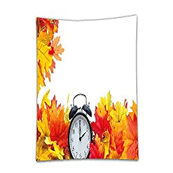 Interestlee Satin drill Tablecloth?Clock Decor Autumn Leaves and an Alarm Clock Fall Season Theme Romantic Digital Print White and Orange Dining Room Kitchen Rectangular Table Cover Home Decor
