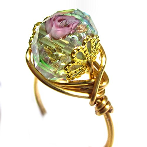 Faceted Crystal Olivine Rose Wire Wrap Ring