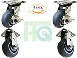 4x2 Polished Stainless Steel Caster Set - (2) Swivel w/ Brakes (2) Rigid - Non-Marking TPR Wheel - 300 LBS Per Caster - Raceway Seals Included