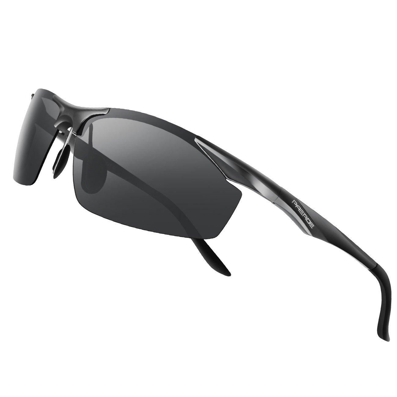 PAERDE Men\'s Sports Style Polarized Sunglasses for Men Driving Fishing Cycling Golf Running Al-Mg Metal Frame Ultra Light Glasses (Black)