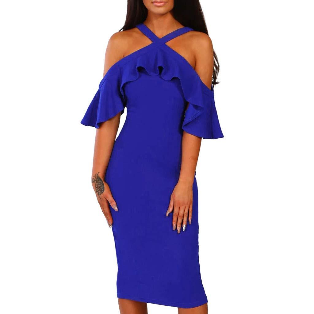 PASATO Women Ruffles Cross Off Shoulder Dress Evening Party Dress Sundress Warm Party Night Out Pencil Midi Dress(Blue,L=US:M)