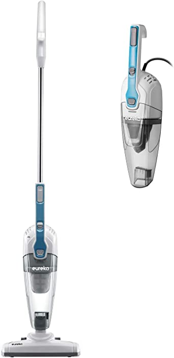Eureka Stick Vacuum Cleaner Powerful Suction 3-in-1 Small Handheld Vac for Hard Floor Lightweight Upright Home Pet Hair, NES100, White with Aqua Blue