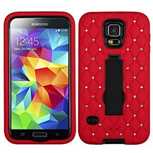 ASMYNA Black/Red Symbiosis Stand Protector Cover (with Diamonds) for SAMSUNG Galaxy S5