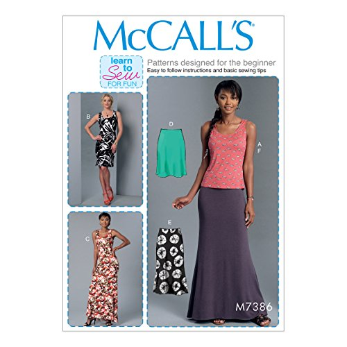 Pattern Top Tank Knit (McCall Patterns M73860Y0 Misses Knit Tank Top/Dresses and Skirts)
