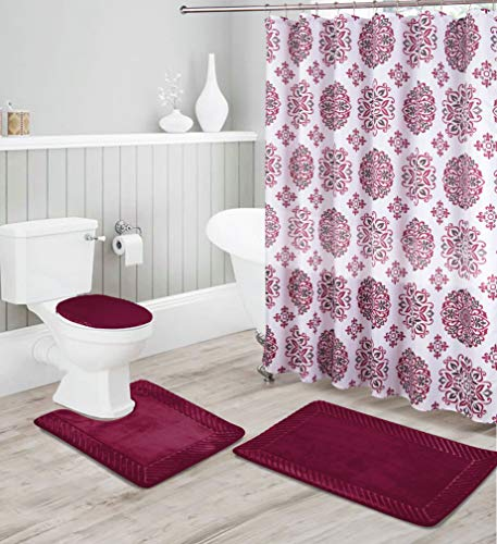 Luxury Home Collection 16 Piece Embossed Memory Foam Non-Slip Bathroom Rug Set Includes Bath Rug Mat, Contour Mat, Toilet Lid Cover, Shower Curtain, and 12 Metal Roller Hooks (Burgundy)