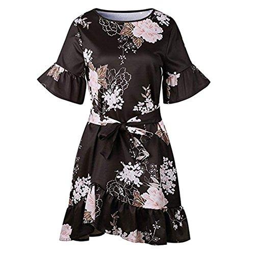Casual Hem ALAPUSA Boho Mini Sleeve Belt Short Floral Women's Dress Ruffle B with qY8rYXw