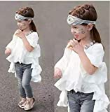 2PCS Baby Girl Long Sleeve Ruffles Dress Shirt