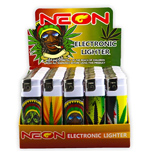 Rasta Cigarette Neon Electronic Disposable Lighters, Wholesale Pack Lot Assorted Lighter (50)