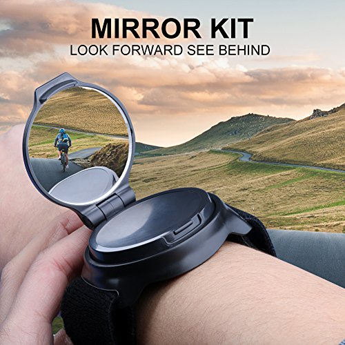 Bicycle Wrist Mirror, Wrist Band Bike Mirrors for Safety Cycling Rotatable Collapsible Cycle Backeye with Elastic Armband Portable Biking Accessories by West Biking (Image #2)