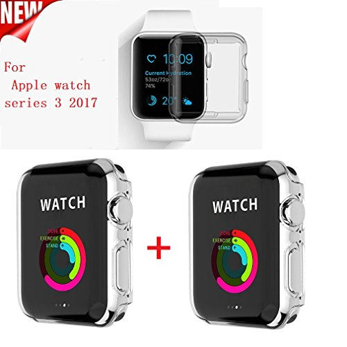 Apple Watch Series 3 Case , Sfmn 2pack iWatch 3 Case Soft TPU Clear Screen Protector for Apple Watch 3 (38MM TPU Case)