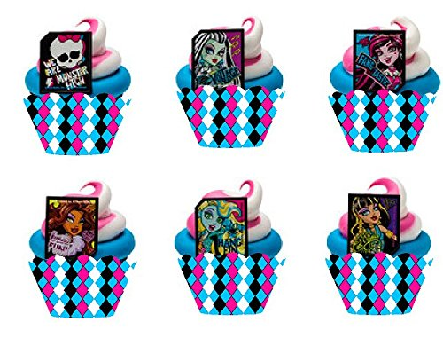 Item#145- 12pk Monster High Cupcake Decoration Topper Rings with 12 Baking Cup Decoration Wrappers