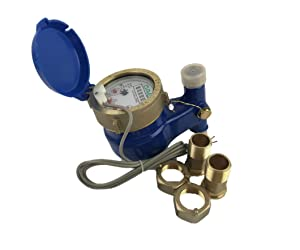 "DAE V-50P 1/2"" Vertical Water Meter with Pulse Output, Measuring in Gallon + Couplings"