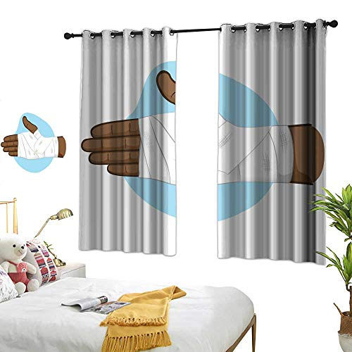 Cloth curtain first aid illustration of hands with bandage bandage on the palm and wrist area African descent Ideal for medical informative and institutional catalogs Warm Home Designs W62.9