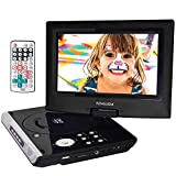 FENGJIDA 10.5'' Portable DVD Player with Rechargeable Battery, 270°Swivel Screen, Car DVD CD Player with Remote Control, SD Card Slot and USB Port - Black