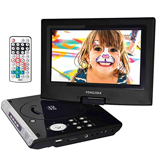 FENGJIDA 10.5'' Portable DVD Player with Rechargeable Battery, 270°Swivel Screen, Car DVD CD Player with Remote Control, SD Card Slot and USB Port - Black by FENGJIDA