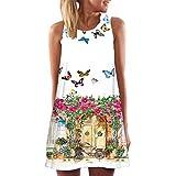 Womens Dress Summer O-Neck Boho Sleeveless Floral Printed Beach Mini Dress Casual T-Shirt Short Dress (S, B)