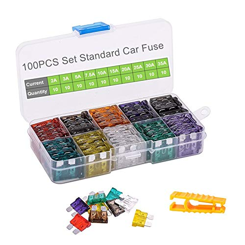 - Car Fuses 100pcs Assorted Standard Blade Fuse Set 2A 3A 5A 7.5A 10A 15A 20A 25A 30A 35A, OUHL Auto Truck Car Fuses Kit Boat SUV Automotive Replacement Fuse, Puller Included