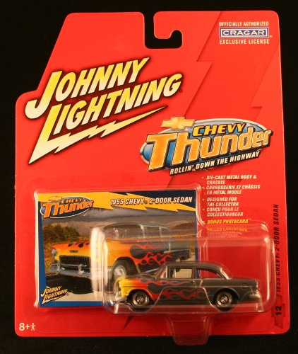 (1955 CHEVY 2-DOOR SEDAN * CHEVY THUNDER * 2005 Johnny Lightning Die-Cast Vehicle & Collector Trading Card)