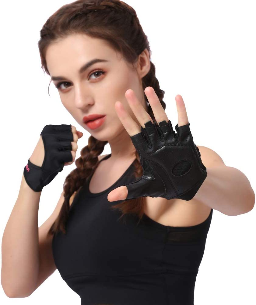 Anser 7150282 Woman Lycra Half Finger Girl Short Fingerless Gloves for Indoor Yoga Gym Fitness Body Building Training